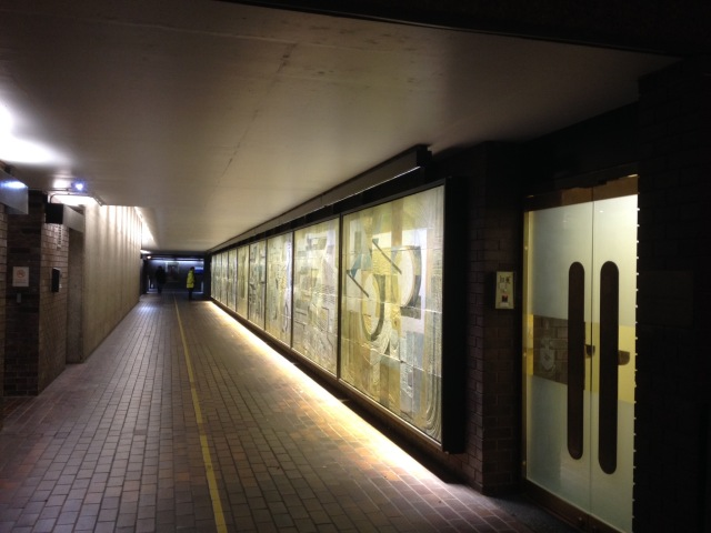 Dorothy Annan mural Speed highwalk Barbican, London