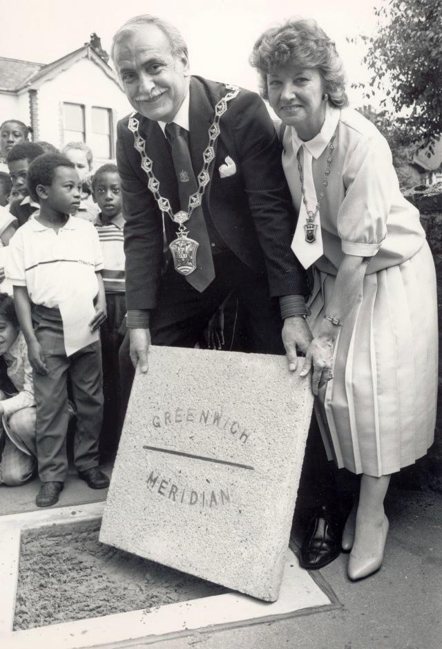 Mayor Cllr Derek Arnold with Colchester Road Millenium plaque