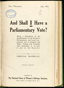 Pamphlet on Votes for Women 1918